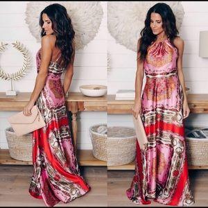 Printed halter maxi dress size L